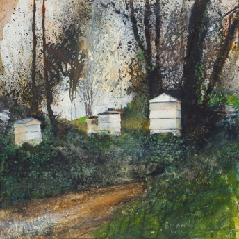 Bernard's bees. March 2014. Mixed media on wood panel.