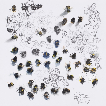 Bees bumbling around the kitchen table. 2014. Mixed media on paper.